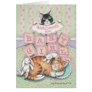 B & T #52A Baby Girl Welcome Note Note Card
