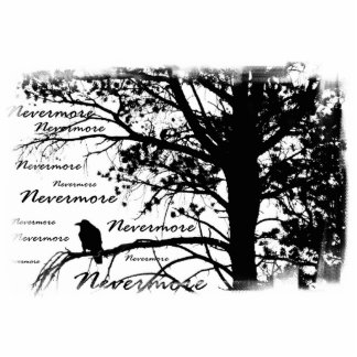 B&W Nevermore Raven Silhouette Standing Photo Sculpture
