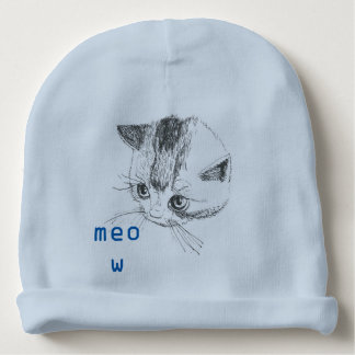 Baby Beanie Cat Drawing Meow Blue Color