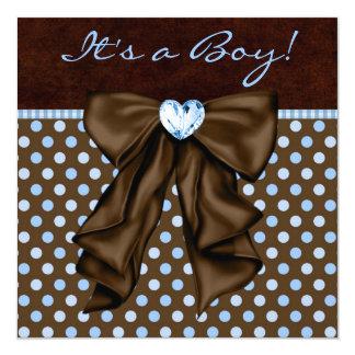 Baby Blue Brown Baby Boy Shower 13 Cm X 13 Cm Square Invitation Card