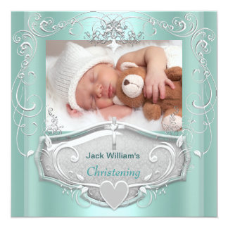 Baby Boy Christening Baptism Mint Silver Cross 13 Cm X 13 Cm Square Invitation Card
