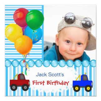 Baby Boy First Birthday 1st Colorful 13 Cm X 13 Cm Square Invitation Card