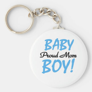 Baby Boy Proud Mom Basic Round Button Key Ring
