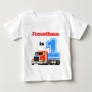 Baby Boy Red Flat Bed Truck 1st Birthday T Shirt