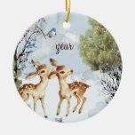 Baby Deer Fawns Christmas Ornament