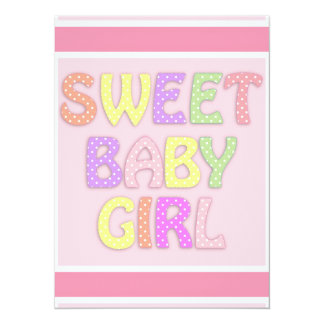 Baby Girl 14 Cm X 19 Cm Invitation Card