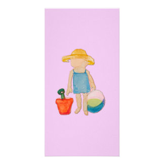 Baby Girl on Summer Beach Birthday Rose Pink Stamp Personalized Photo Card