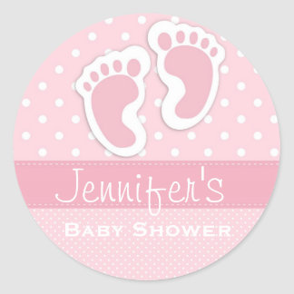 Baby Girl Pink Footprint Polka Dot Shower Stickers