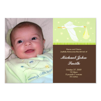 Baby Green and Brown - Medium Postage Stamp 13 Cm X 18 Cm Invitation Card