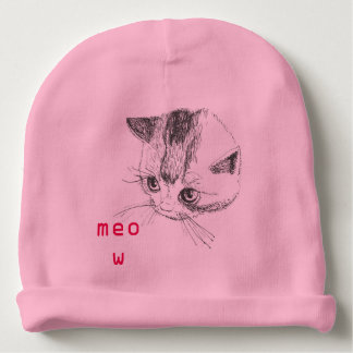 Baby Hat Kitty Cat Drawing Pink Color Baby Beanie