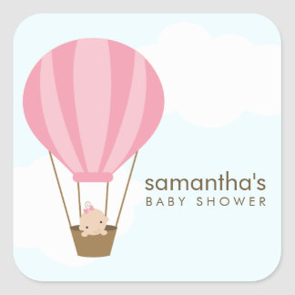Baby in Balloon Baby Shower Square Sticker