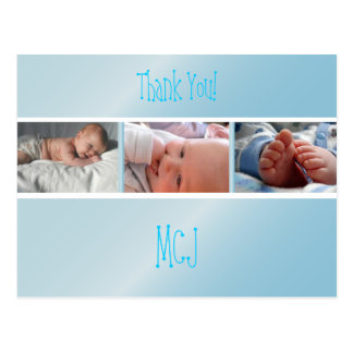 Baby monogram thank you, insert your photos postcard