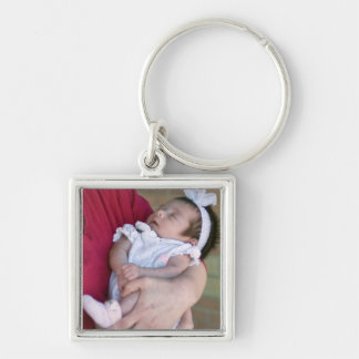 baby mother color new key Silver-Colored square key ring