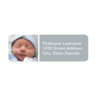 Baby Photo Return Address Labels   Nickel Gray
