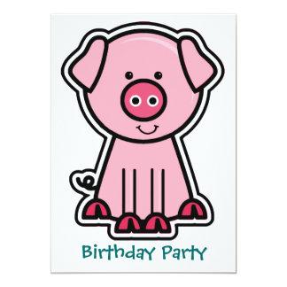 Baby Pig Sticker Birthday Party 13 Cm X 18 Cm Invitation Card
