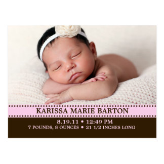 Baby Pink Simply Charming Photo Birth Announcement Postcard