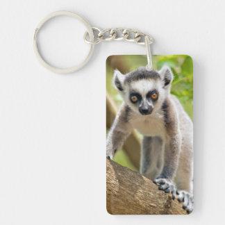 Baby ring-tailed lemur Double-Sided rectangular acrylic key ring