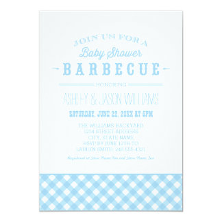 Baby Shower BBQ Invitation | Blue Gingham