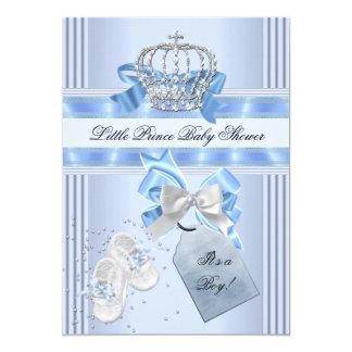 Baby Shower Boy Blue Little Prince Crown 5a 13 Cm X 18 Cm Invitation Card