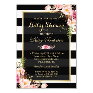 Baby Shower Classy Floral Gold Black White Stripes 13 Cm X 18 Cm Invitation Card