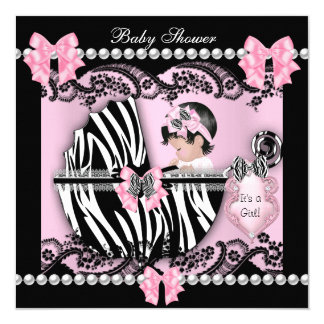 Baby Shower Cute Baby Girl Pink Zebra Lace 13 Cm X 13 Cm Square Invitation Card