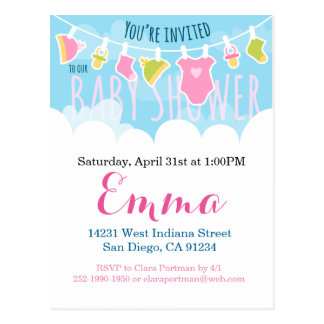 Baby Shower cute laundry Postcard