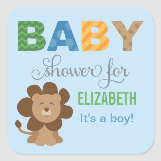Baby Shower Favor Sticker | Lion Jungle Animal