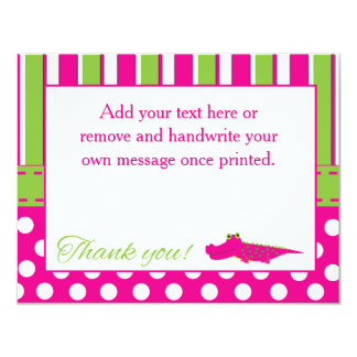 Baby Shower Girl Alligator Thank You Card 11 Cm X 14 Cm Invitation Card