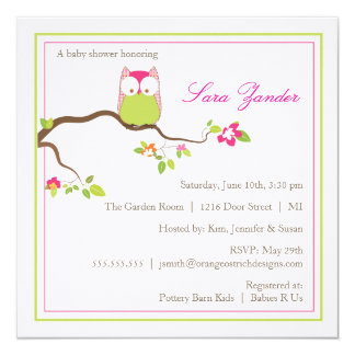 Baby Shower Invitation - Pink  and Green Baby Owl