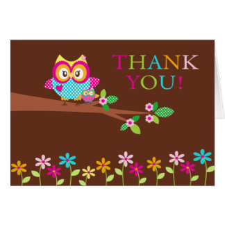 Baby Shower Owl Thank You Note Card
