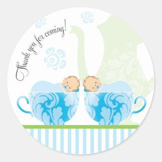 Baby Shower Tea Party Favor Sticker     Twin Boys