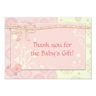 Baby Shower Thank You Note Pink Frilly 13 Cm X 18 Cm Invitation Card