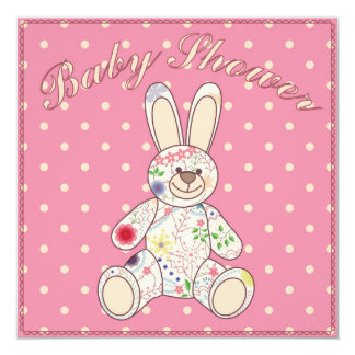 Baby shower with bunny toy pink 13 cm x 13 cm square invitation card