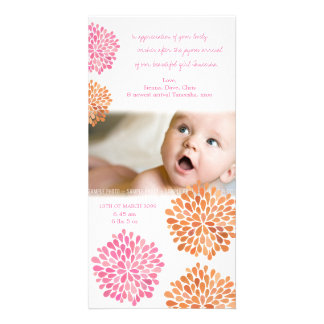 Baby Thank You Card Pink & Orange Flowers Photo Cards