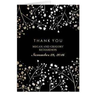Baby's Breath Gold and Black Wedding Thank You Note Card
