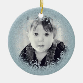 Baby's Christmas Ornament - Blue Sparkle Snowflake