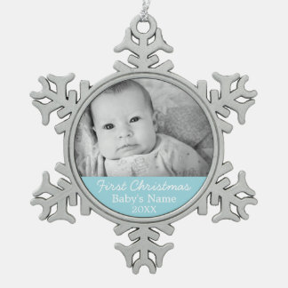 Baby's First Christmas Photo - Blue Boy Background Pewter Snowflake Decoration