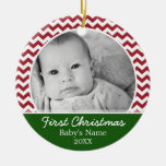 Babys First Christmas - red chevrons and green Round Ceramic Decoration