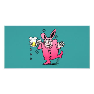 Bachelor night in a Bunny Suit Custom Photo Card