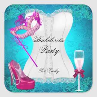 Bachelorette Party Corset Teal Pink Shoes mask Square Sticker