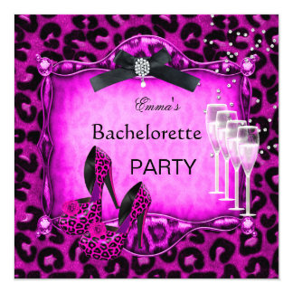 Bachelorette Party Hot Pink Leopard Black Shoes 13 Cm X 13 Cm Square Invitation Card