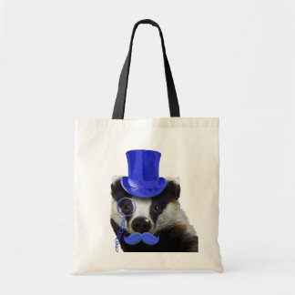 Badger with Blue Top Hat and Moustache Budget Tote Bag
