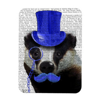Badger with Blue Top Hat and Moustache Rectangular Photo Magnet