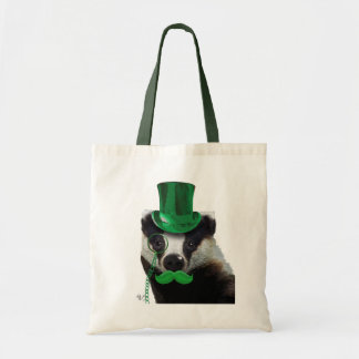 Badger with Green Top Hat and Moustache Budget Tote Bag