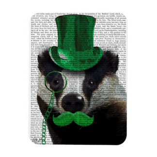 Badger with Green Top Hat and Moustache Rectangular Photo Magnet