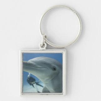 Bahamas, Grand Bahama Island, Freeport, Scuba 2 Silver-Colored Square Key Ring