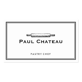 Bakery Pastry Chef Rolling Pin Baker Logo White Pack Of Standard Business Cards