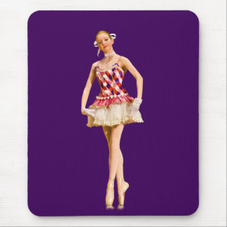Ballerina On Pointe in Pink and White Mouse Pad