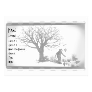 Balloon Clown & Ravens By Creepy Tree - B&W Pack Of Chubby Business Cards