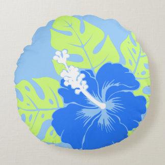 Banzai Beach Hawaiian Hibiscus Reversible Round Cushion